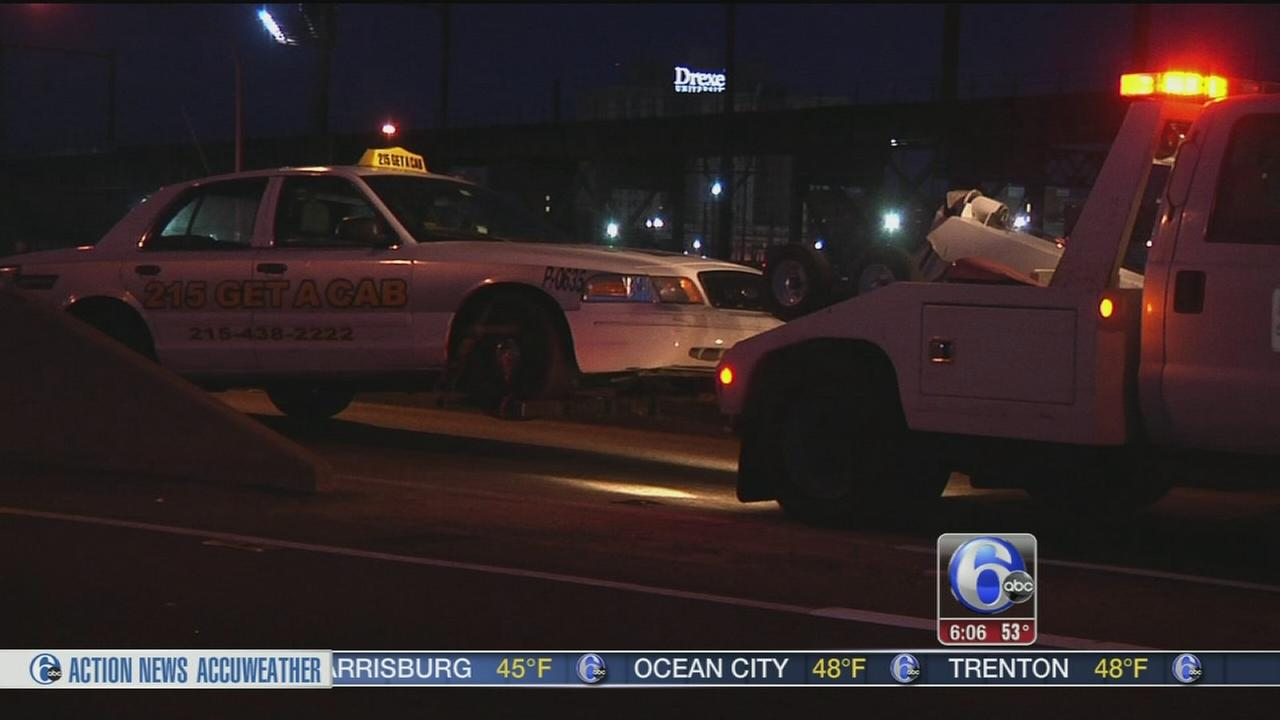 VIDEO: 1 dead after motorcycle, taxi crash on Vine Street Expy.