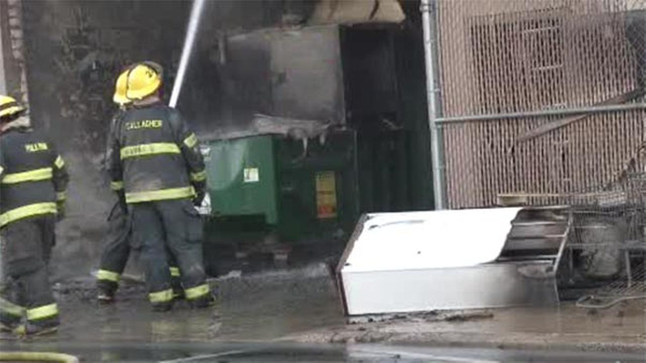 Commercial dumpster goes up in flames in NE Philadelphia