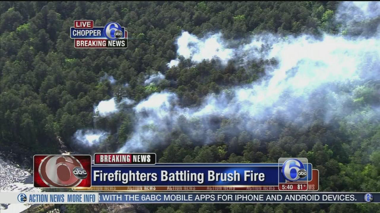 VIDEO: Firefighters battle large brush fire in Jackson Twp.