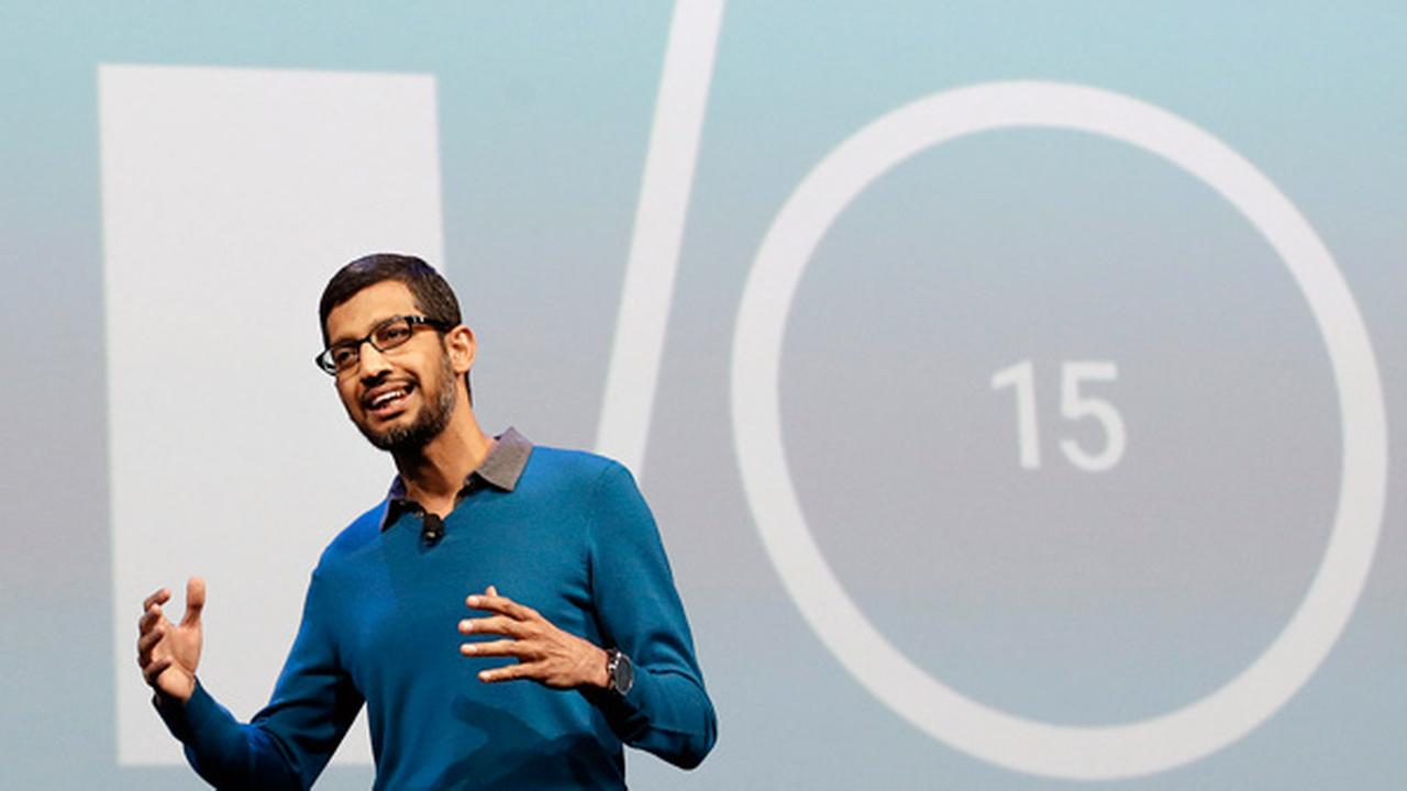 Sundar Pichai, senior vice president of Android, Chrome and Apps, speaks during the Google I/O 2015 keynote presentation in San Francisco, Thursday, May 28, 2015.