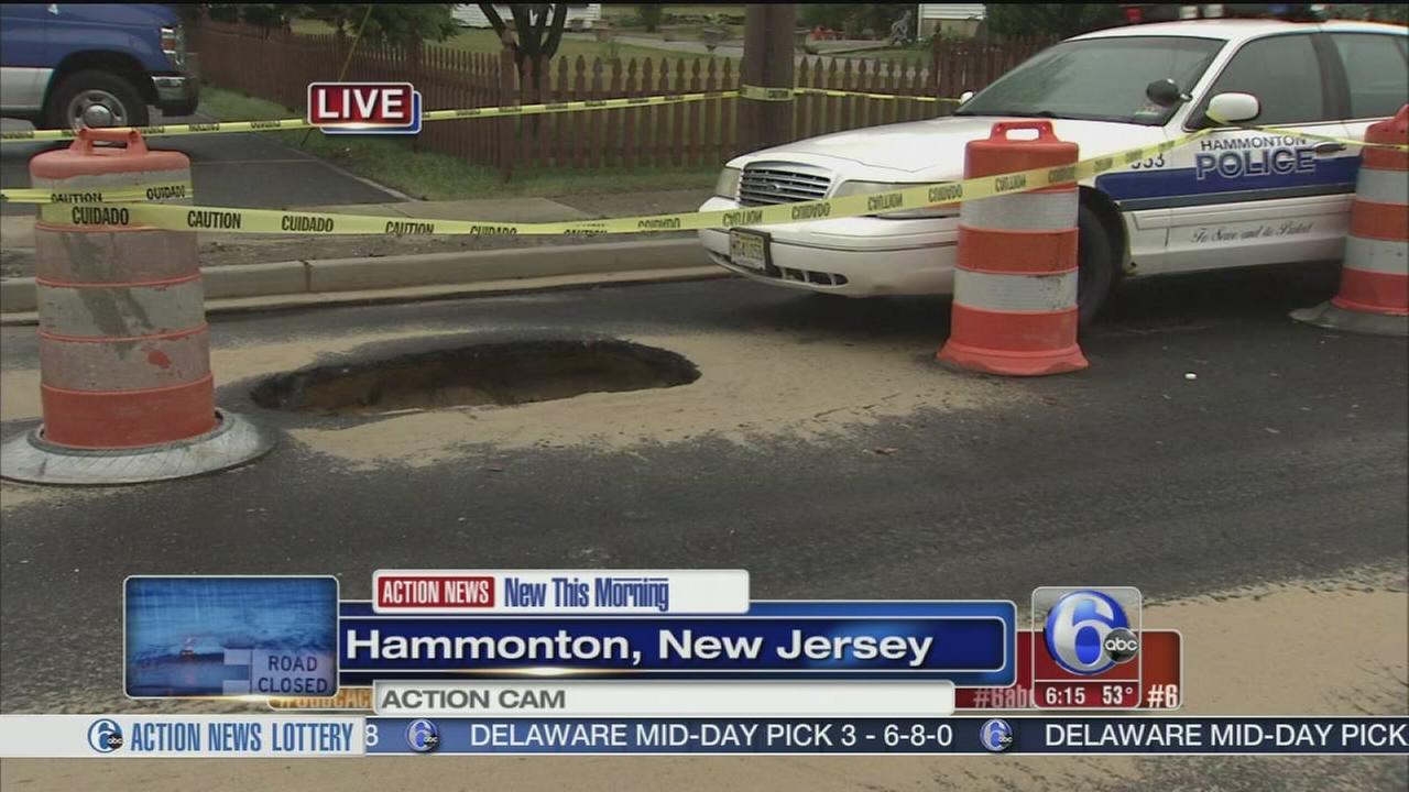 VIDEO: Sinkhole opens on street in Hamnmonton, NJ
