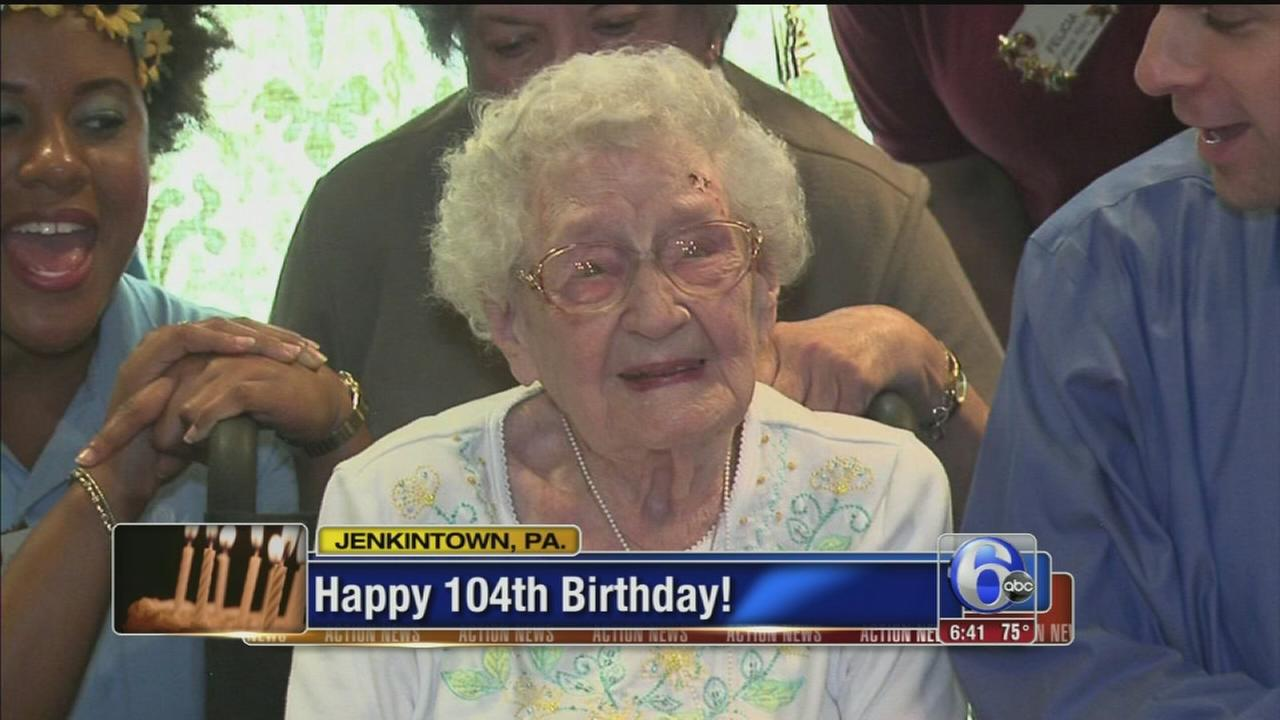 VIDEO: Woman celebrates 104th birthday in Jenkintown