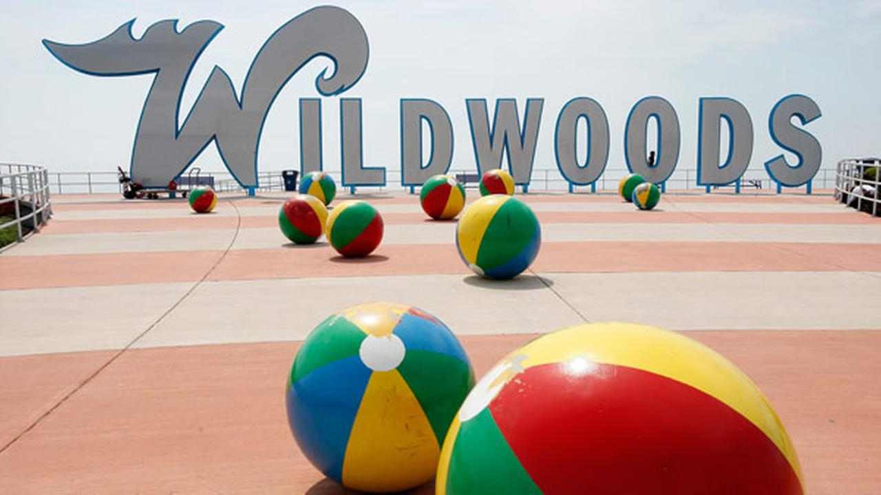 FILE - This May 27, 2010 file photo shows the famous Wildwoods sign and decorative concrete beachballs on the boardwalk in Wildwood, N.J.