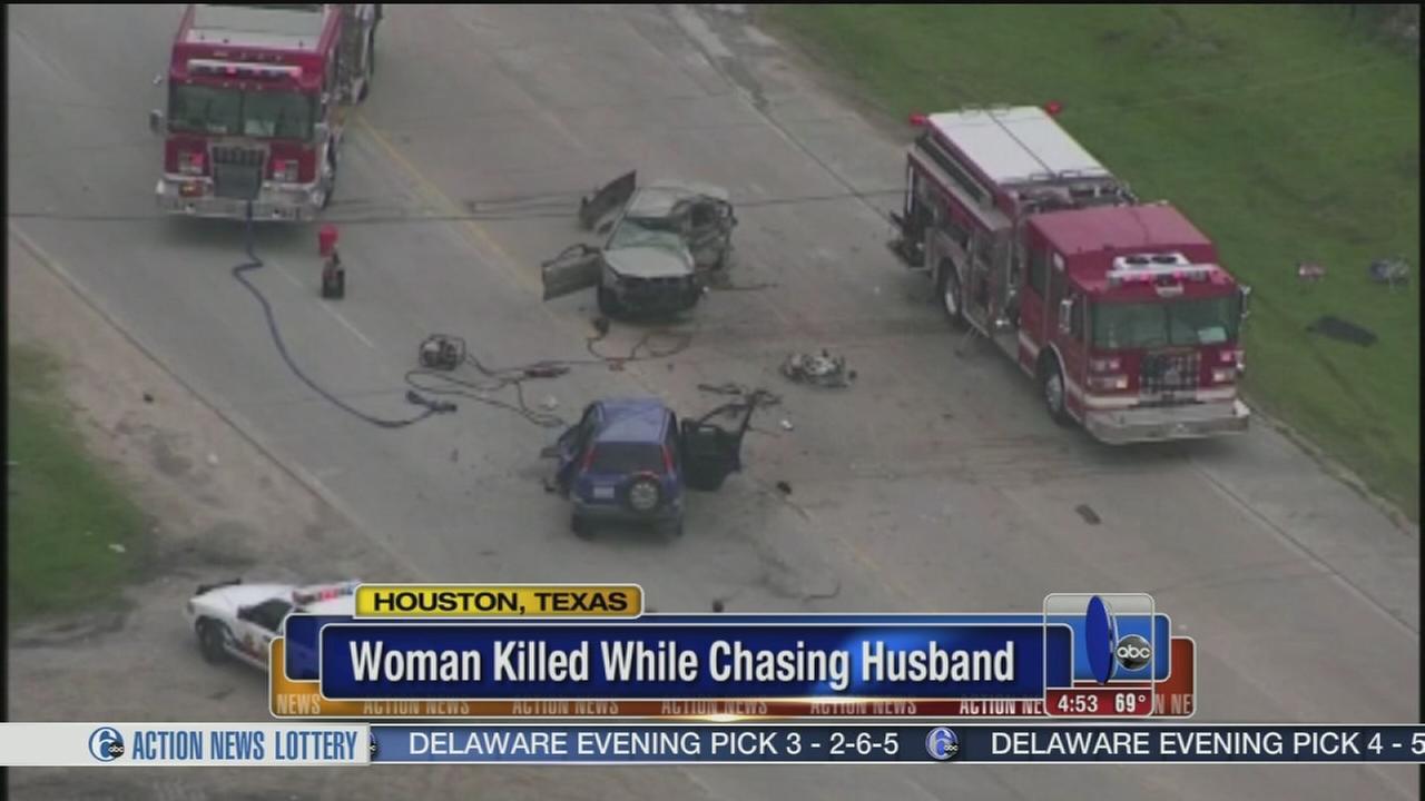 VIDEO: Wife killed in head-on crash while chasing husband