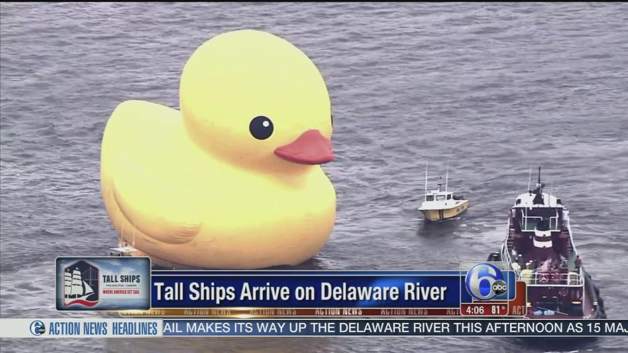 VIDEO: Tall ships and giant rubber ducky arrive on Delaware River