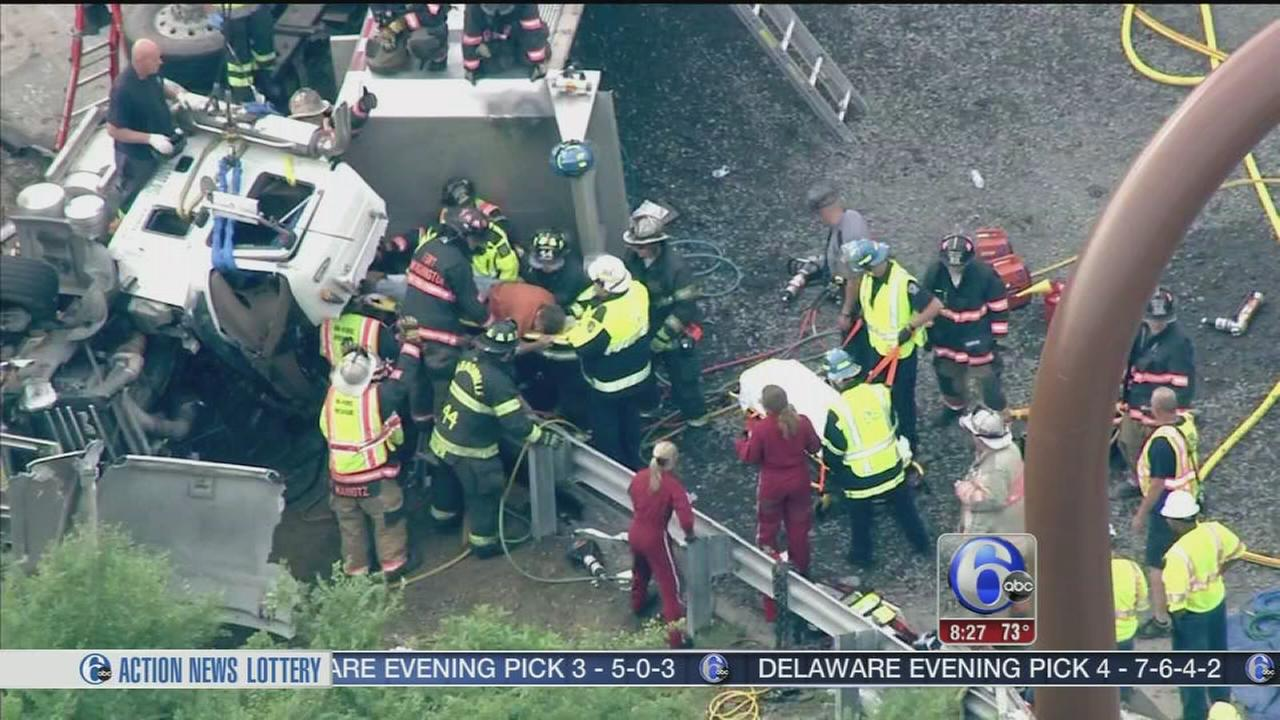 VIDEO: Driver freed after dump truck crash