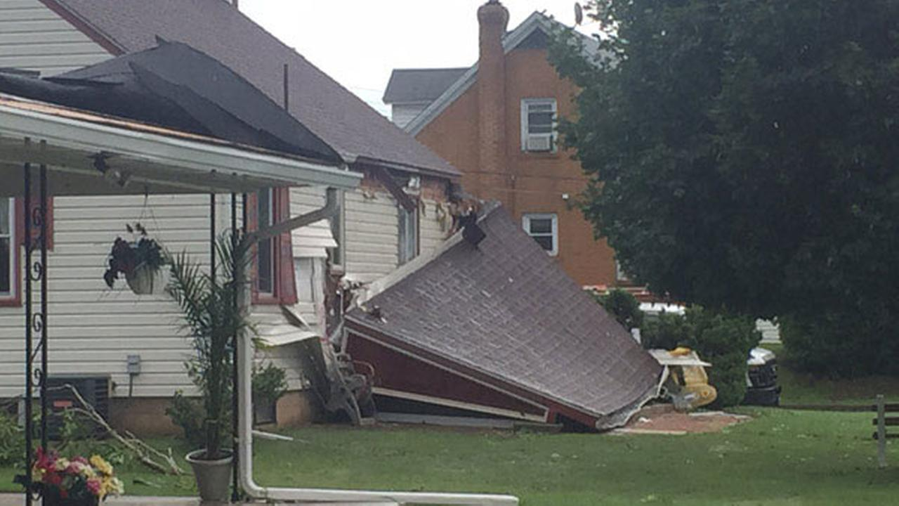 Storm damage seen in Whitehall Township, Pa. on June 30, 2015.