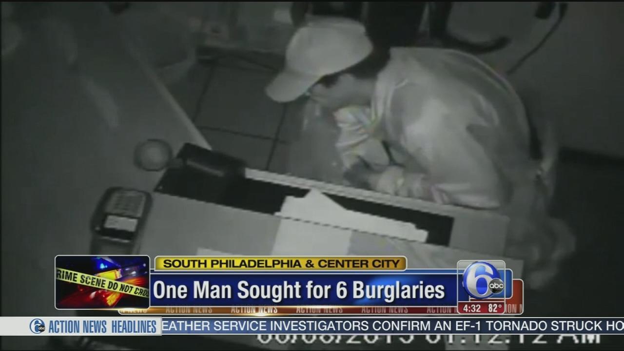 VIDEO: One man sought for 6 burglaries in South Philadelphia