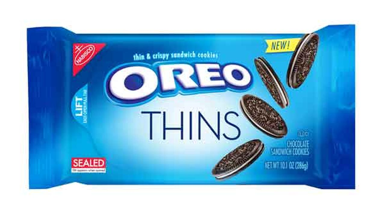 This product image provided by Mondelez shows the packaging design for Oreo Thins.