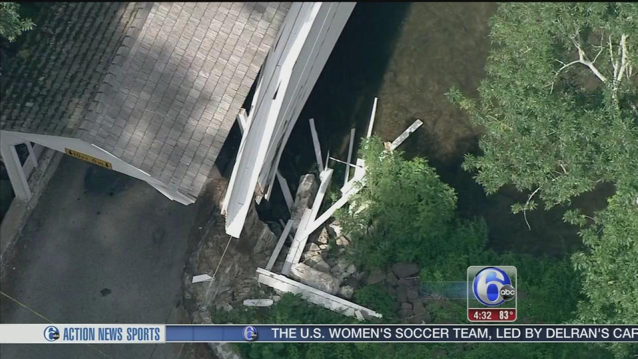 VIDEO: Covered bridge struck in Chester Co.; driver sought