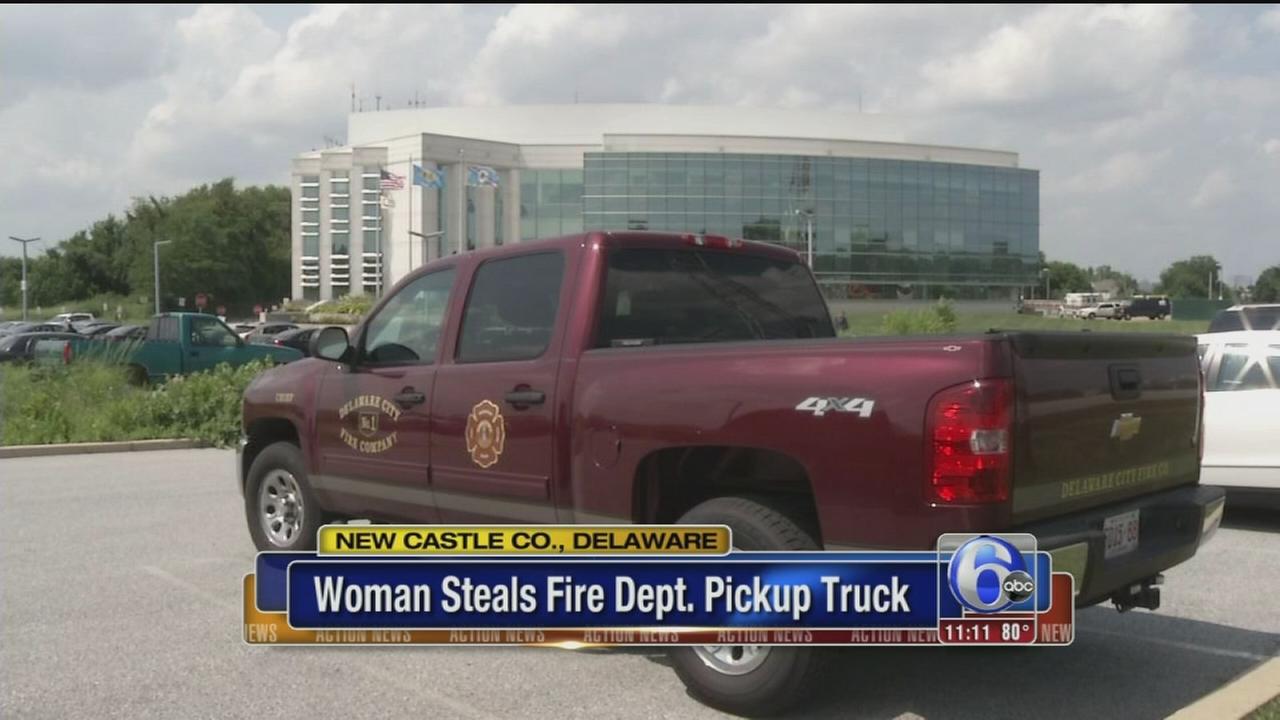 VIDEO: Woman steals fire department pickup truck