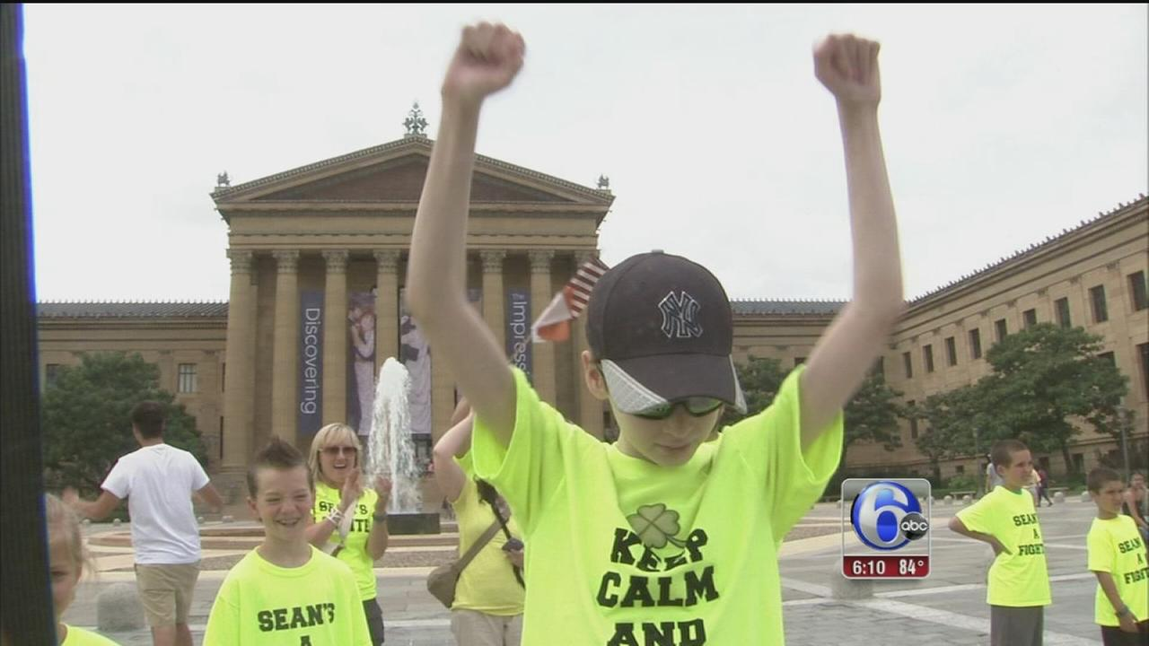 VIDEO: Teen marks being cancer free with run up Rocky Steps