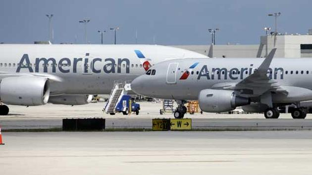 An American Airlines aircraft taxis to the gate.