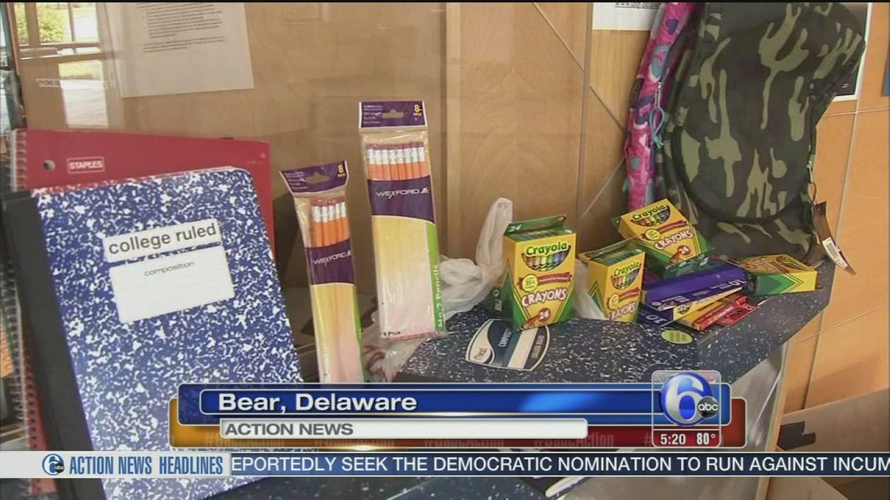 Del. State Police collect supplies for elementary students.