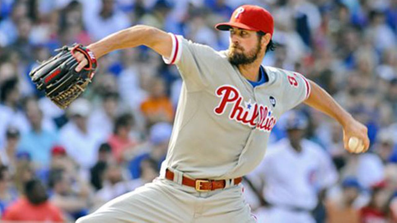 Philadelphia Phillies starting pitcher Cole Hamels delivers during the seventh inning of baseball game against the Chicago Cubs in Chicago, Saturday, July 25, 2015.