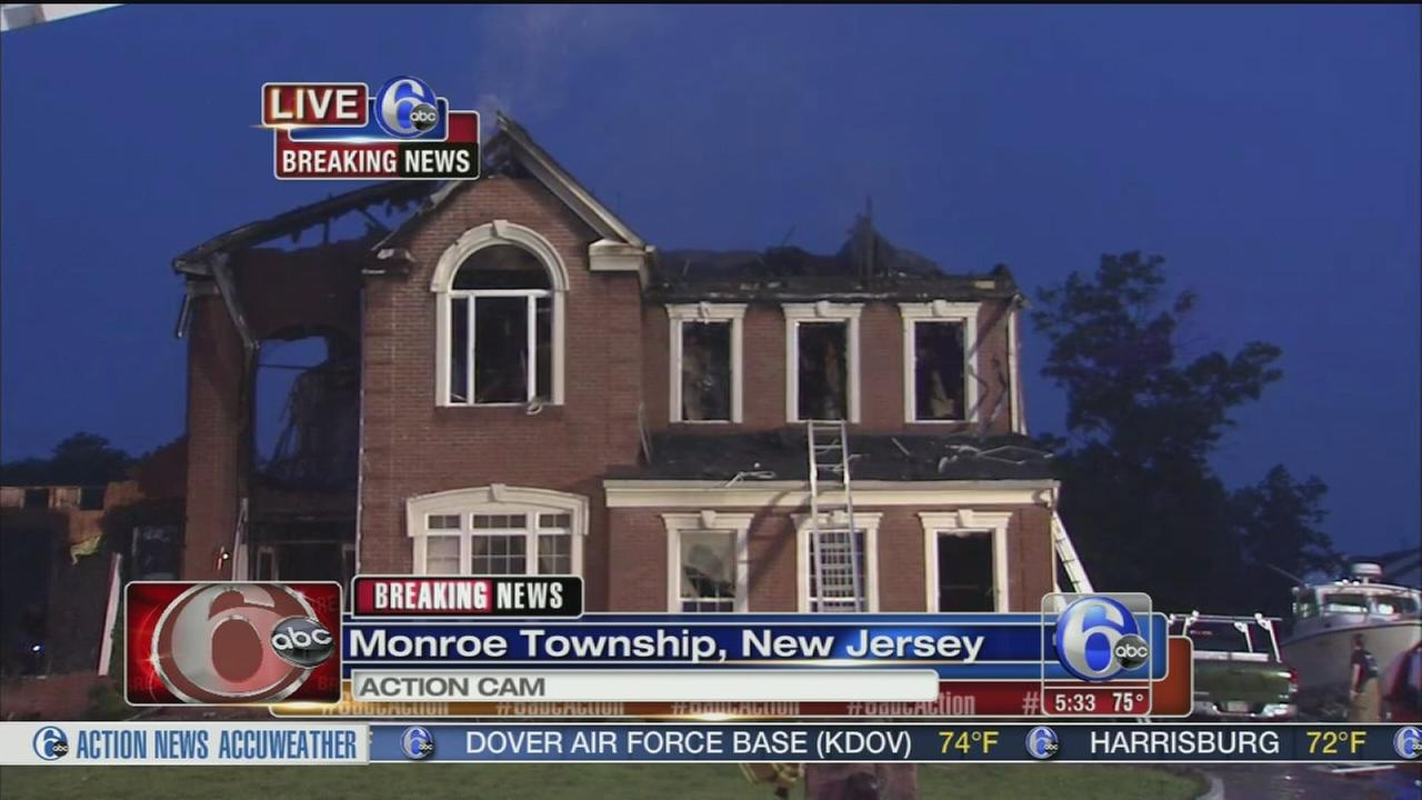 VIDEO: Fire destroys home in Monroe Twp., NJ