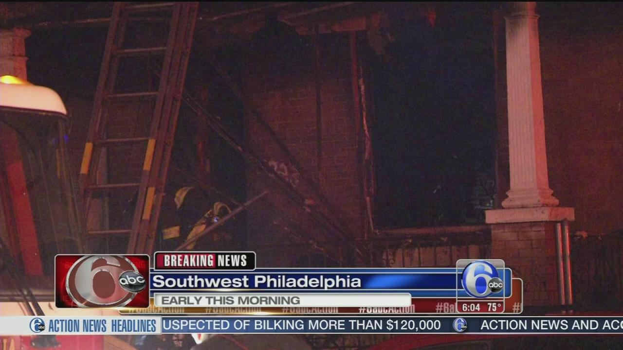 VIDEO: Firefighter hurt in SW Phila. fire