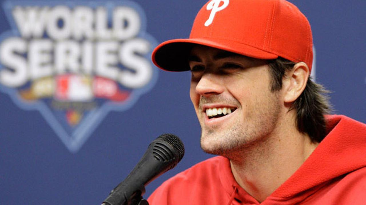Cole Hamels laughs during his press conference at Citizens Bank Park in Philadelphia Friday, Oct. 30, 2009.