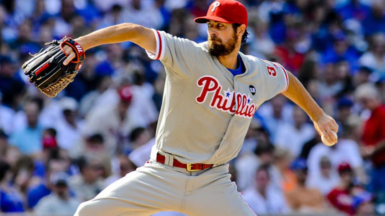 Philadelphia Phillies starting pitcher Cole Hamels delivers during a baseball game against the Chicago Cubs in Chicago on Saturday, July 25, 2015.