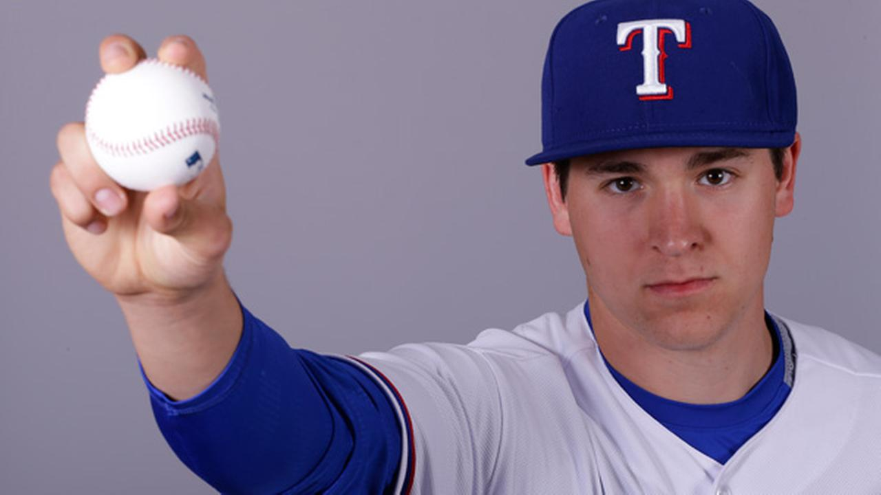 This is a 2015 photo of Jerad Eickhoff of the Texas Rangers baseball team.