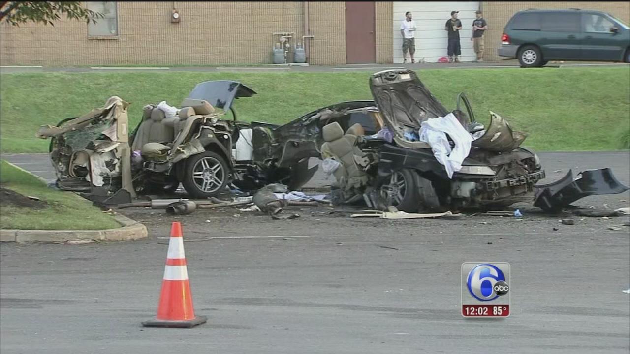 VIDEO: Car splits in half in NE Philadelphia crash