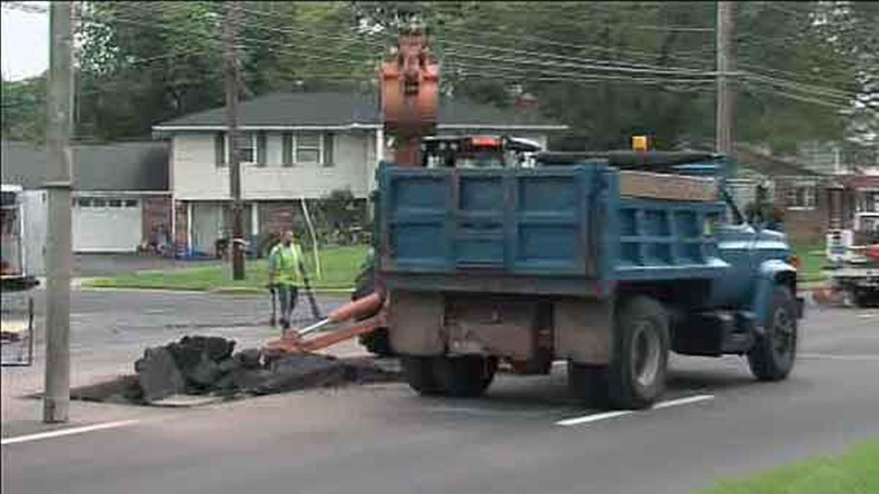 A pressurized sewer pipe burst on Wednesday morning, shutting down a road in Warminster, Bucks County.