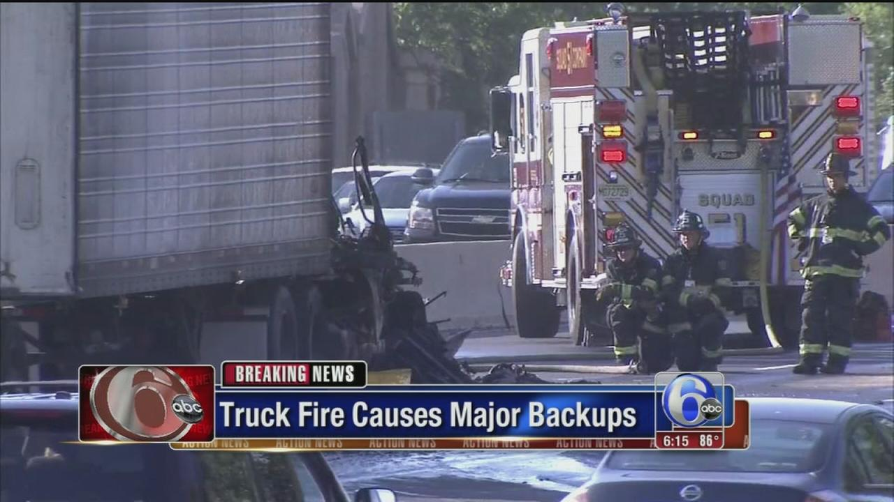 VIDEO: Truck fire closes NB Rt. 76 in Gloucester City