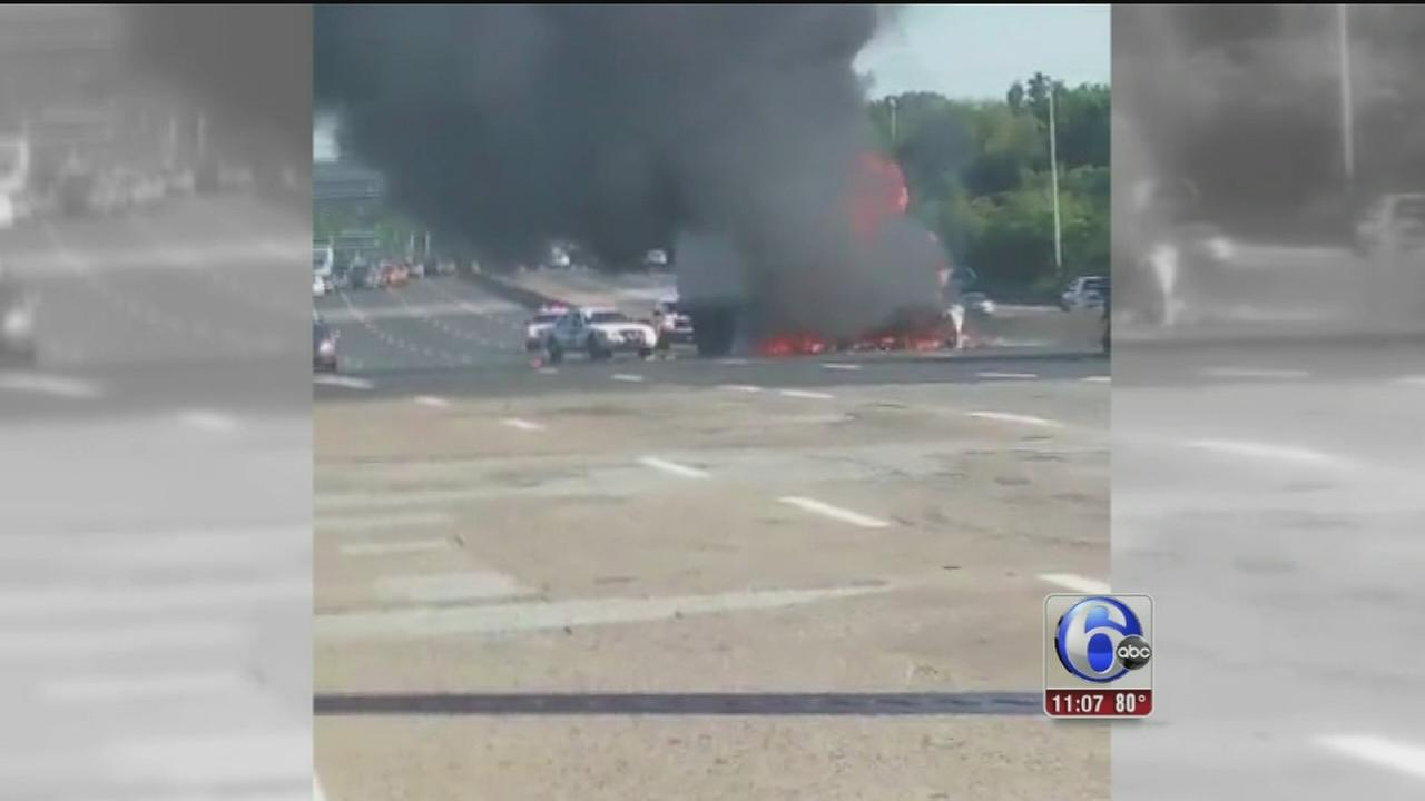VIDEO: Roadway damaged after truck fire on NB Rt. 76