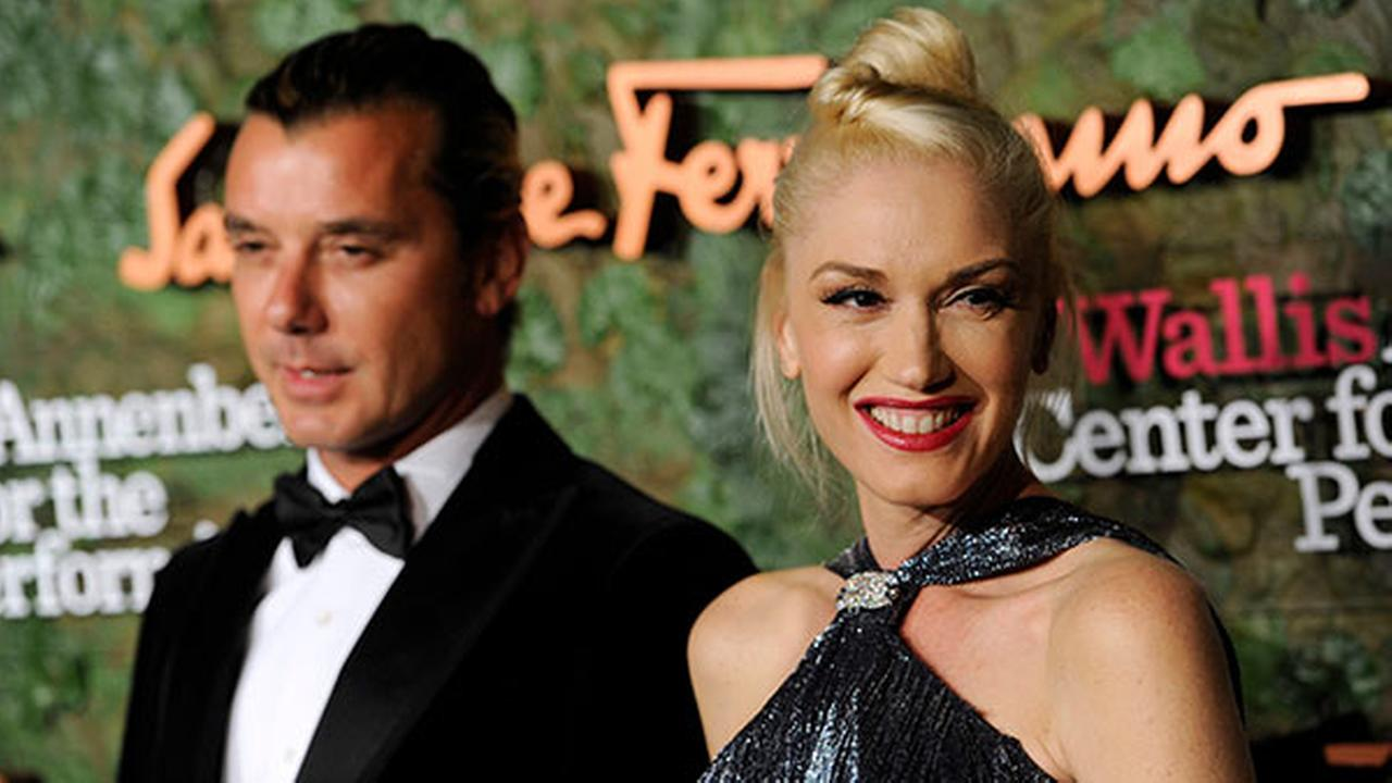 FILE: In this Oct. 17, 2013 file photo, Gavin Rossdale, left, and Gwen Stefani arrive at the Wallis Annenberg Center for the Performing Arts Inaugural Gala in Beverly Hills, Calif.