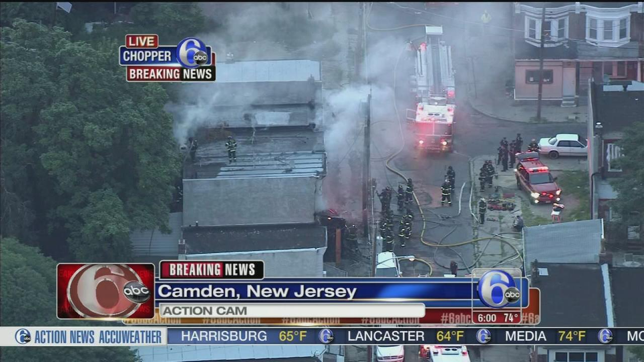 VIDEO: Fire burning through homes in Camden