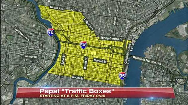 Pope Philly visit city center traffic box