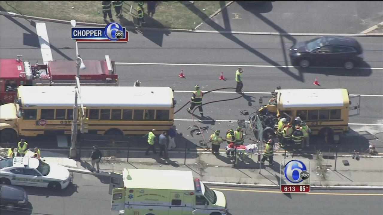 VIDEO: 2 injured in school bus crash in Bordentown