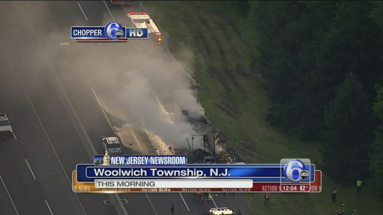 VIDEO: 1 killed in fiery crash on NJ Turnpike