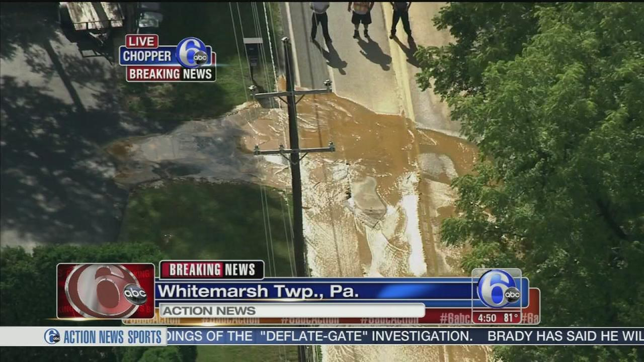 VIDEO: Water main break in Whitemarsh Twp.