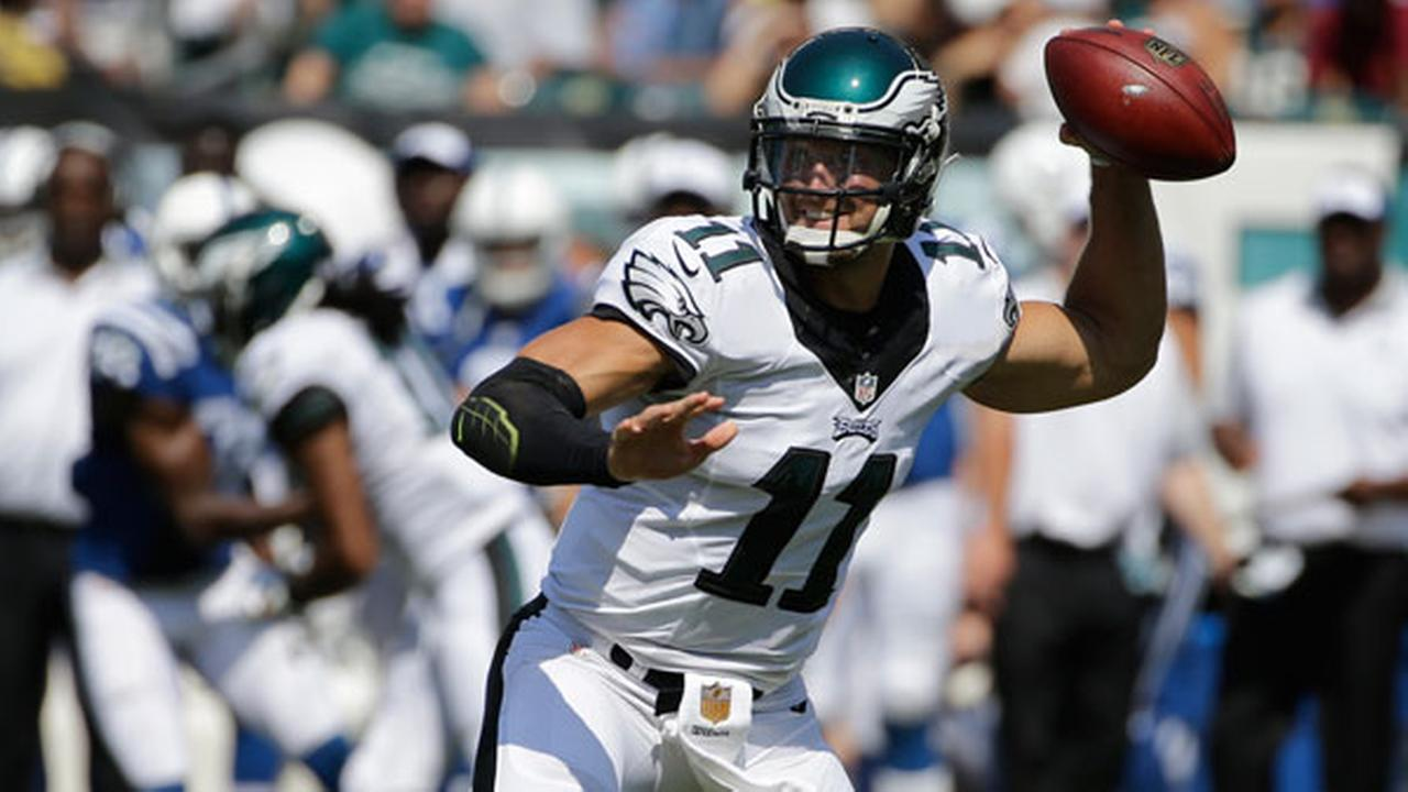 Philadelphia Eagles Tim Tebow passes during the second half of a preseason NFL football game against the Indianapolis Colts, Sunday, Aug. 16, 2015, in Philadelphia.