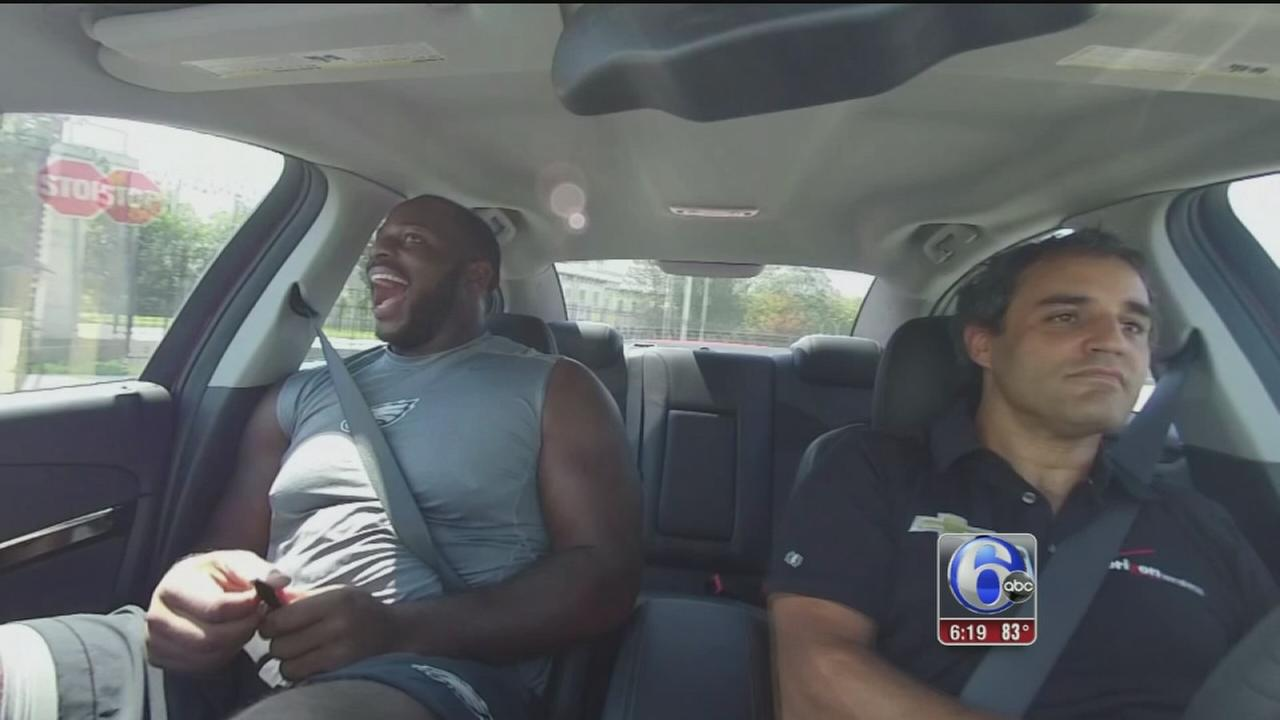 VIDEO: IndyCar winner takes Fletcher Cox for wild ride