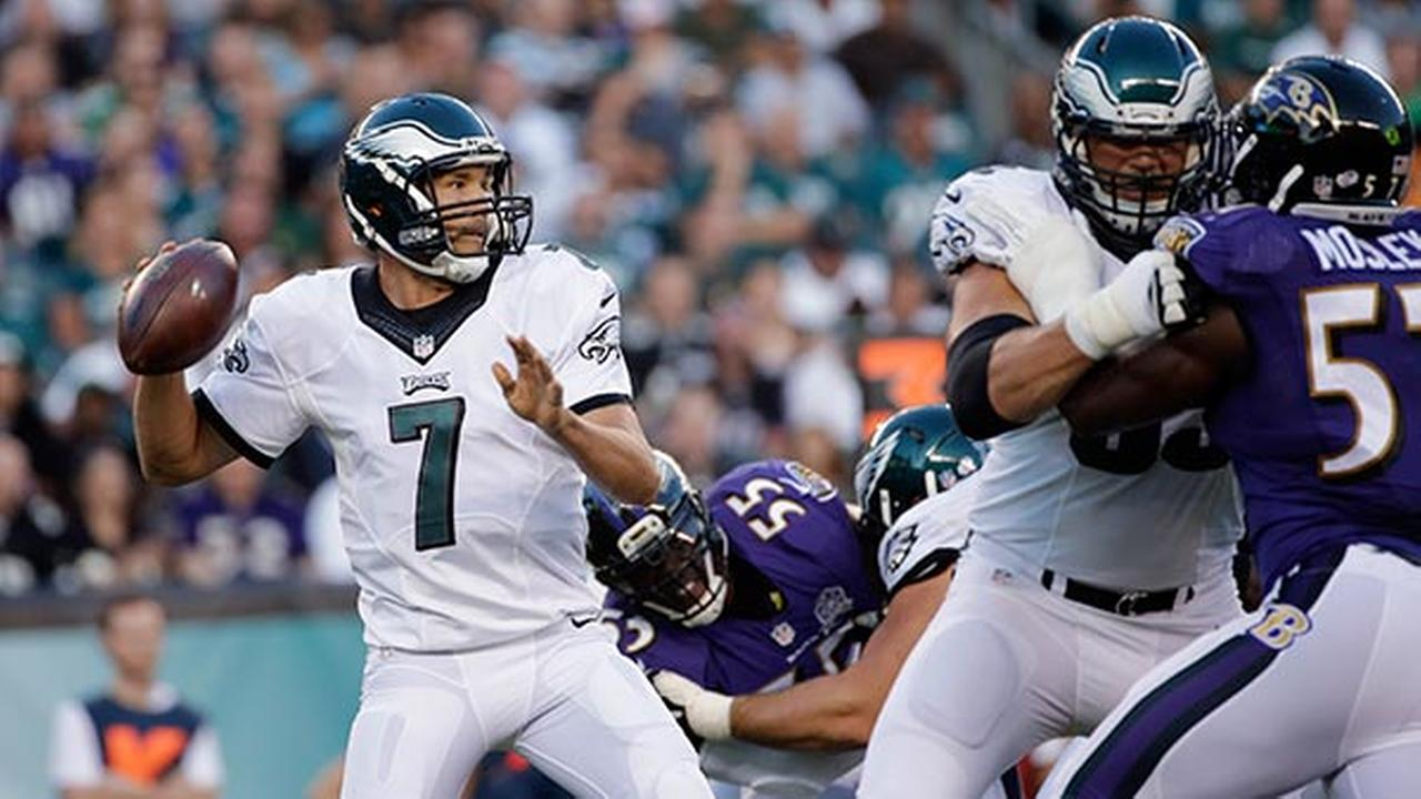 Philadelphia Eagles Sam Bradford looks to pass during the first half of a preseason NFL football game against the Baltimore Ravens, Saturday, Aug. 22, 2015, in Philadelphia.