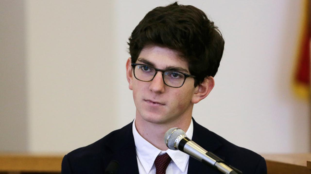 Former St. Pauls School student Owen Labrie testifies in his trial at Merrimack Superior Court in Concord, N.H., Wednesday, Aug. 26, 2015.