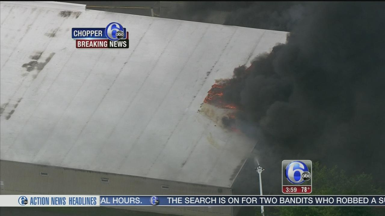 VIDEO: Fire erupts at Burlington Co. plant