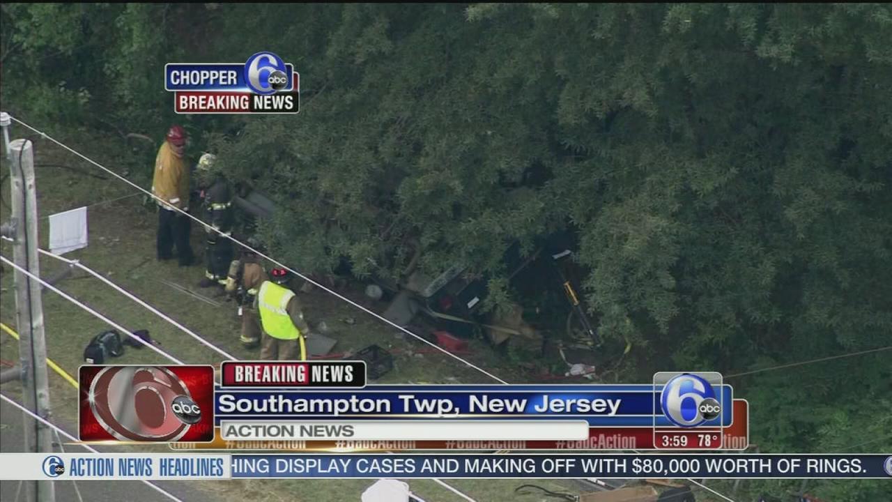 VIDEO: Pedestrian killed, 2 trapped in Burlington Co. crash