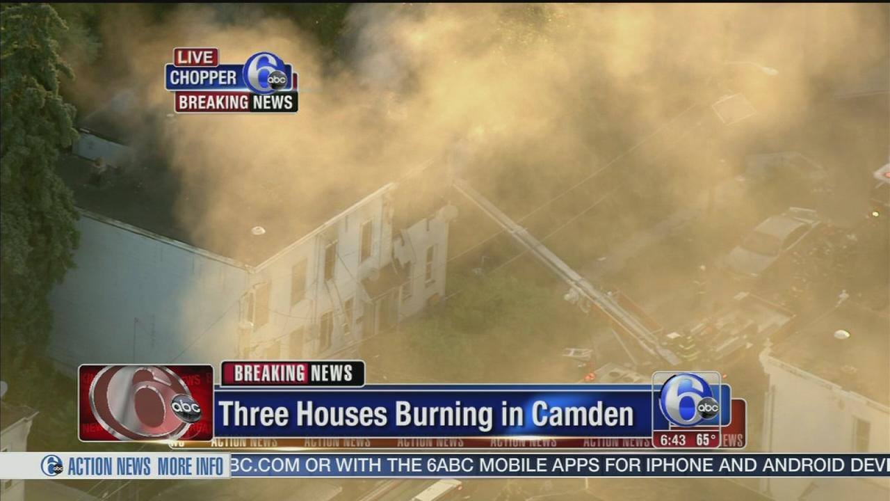 VIDEO: 3 row houses burn in Camden, N.J.