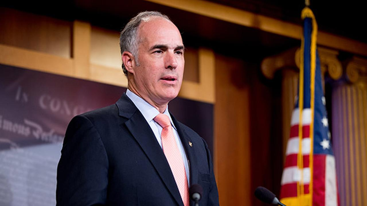 Sen. Bob Casey, D-Pa., speaks at a press conference on Capitol Hill in Washington, Sunday, July 26, 2015.
