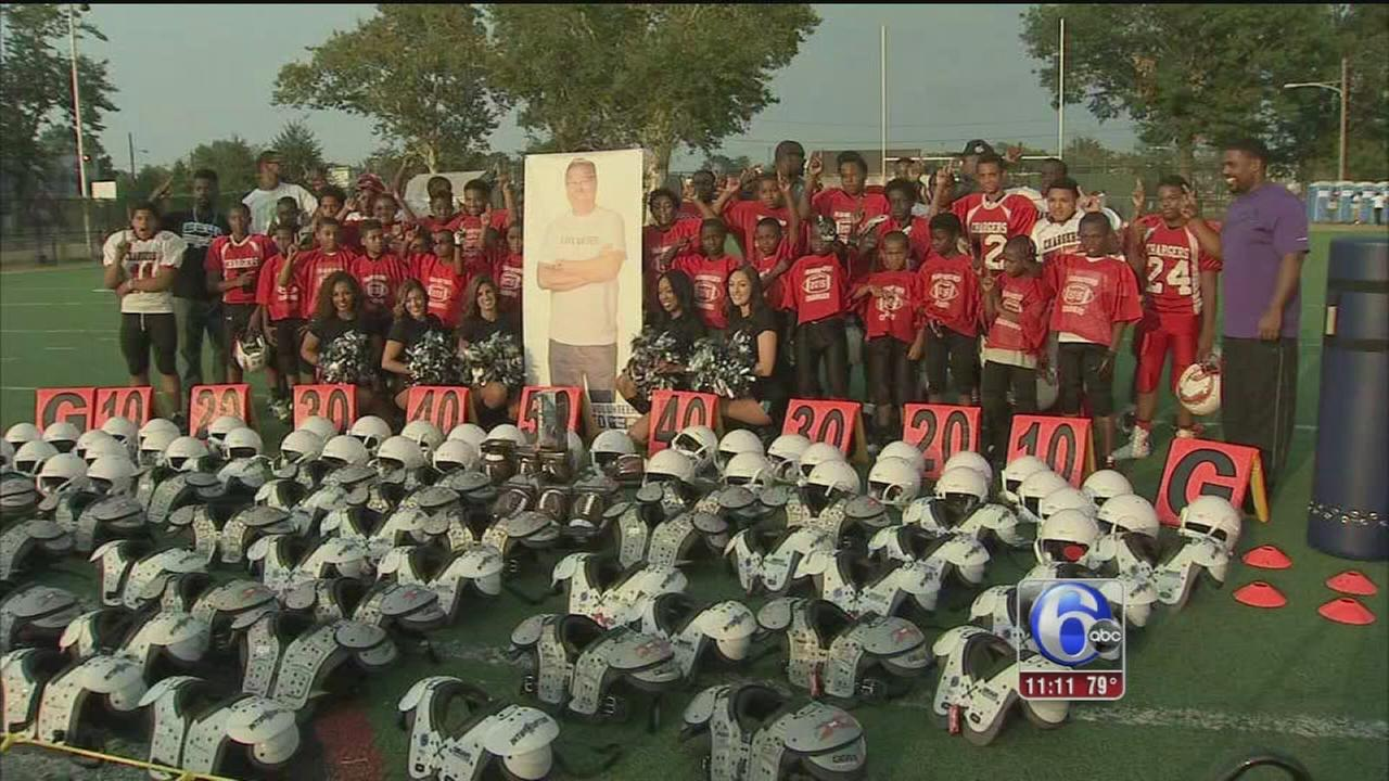 VIDEO: Jaworski helps replace Frankford football equipment
