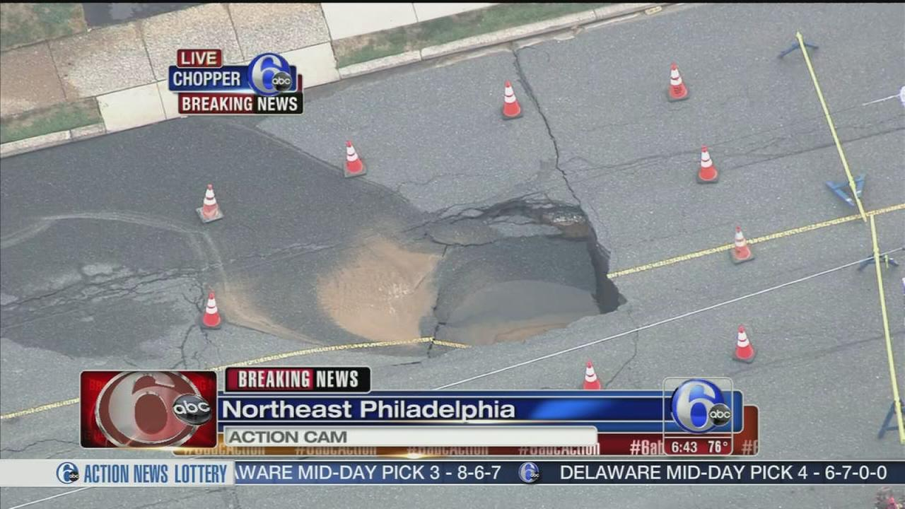 VIDEO: Sinkhole opens in NE Phila.