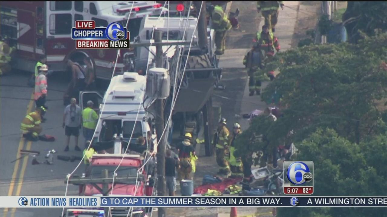 VIDEO: 1 trapped when van collides with milling machine in Delco