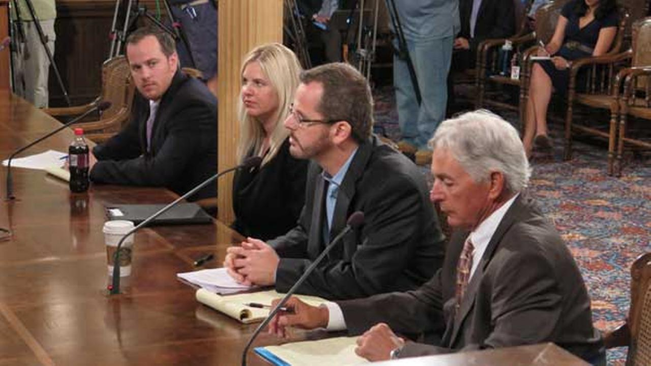 State Rep. Todd Courser, R-Lapeer, second from right, testifies before a House committee, Wednesday, Sept 9, 2015, in Lansing, Mich.