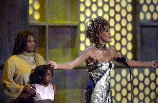 <div class='meta'><div class='origin-logo' data-origin='none'></div><span class='caption-text' data-credit='ASSOCIATED PRESS'>Whitney Houston, right, thanks the crowd after being honored with a lifetime achievement award at the first BET awards Tuesday, June 19, 2001, at a hotel in Las Vegas.</span></div>