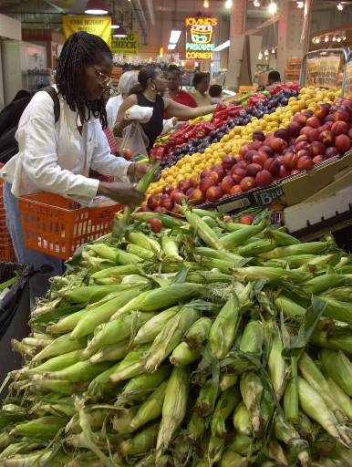 <div class='meta'><div class='origin-logo' data-origin='none'></div><span class='caption-text' data-credit='AP'>Two women choose their vegetables and fruits at Iovine Bros. Produce in the Reading Terminal Market Friday, July 6, 2001, in Philadelphia. (AP Photo/Chris Gardner)</span></div>