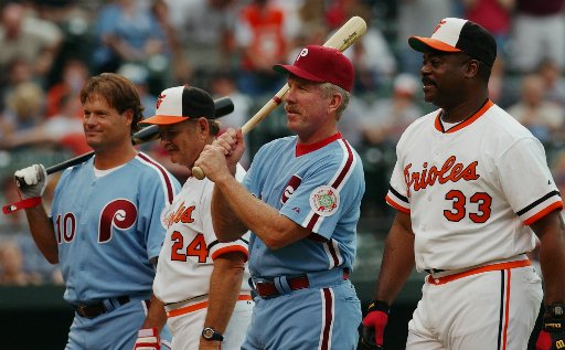 "<div class=""meta image-caption""><div class=""origin-logo origin-image ap""><span>AP</span></div><span class=""caption-text"">1983 World Series players Darren Daulton, Rick Demsey, Mike Schmidt and Eddie Murray on June 28, 2003.</span></div>"
