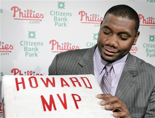 <div class='meta'><div class='origin-logo' data-origin='AP'></div><span class='caption-text' data-credit='AP Photo/George Widman'>Phillies' Ryan Howard poses with a base after a news conference in Philadelphia Monday, Nov. 20, 2006, after he was was voted the National League's Most Valuable Player.</span></div>